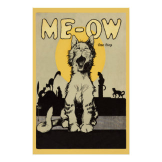 Meow One step vintage cute cat lovers feline Poster