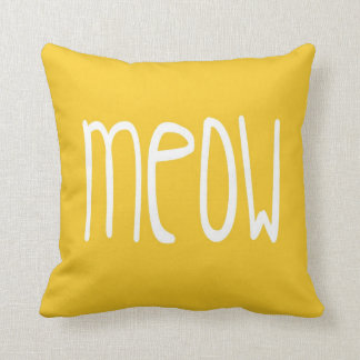Meow Pillow on yellow and gray background