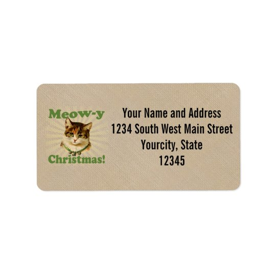 Meow-y Christmas, Cute Holiday Cat Animal Label