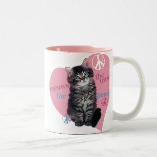 Meows The Time For Peace Two-Tone Coffee Mug