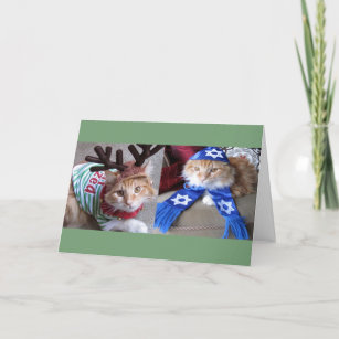 Meowy Catmas and Happy Paw-nukkah! Holiday Card