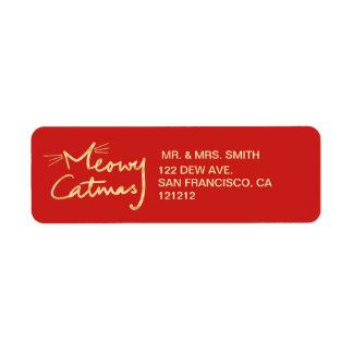 Meowy Catmas Custom Festive Red Return Address