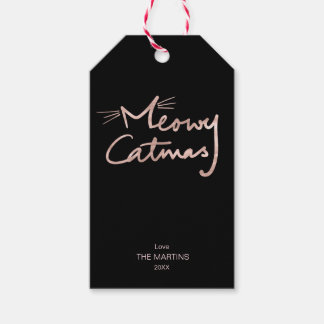 Meowy Catmas Funny Faux Rose Gold Cat Christmas Gift Tags
