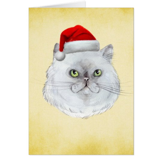 Meowy Christmas! A cute Cat with Santa Hat Card
