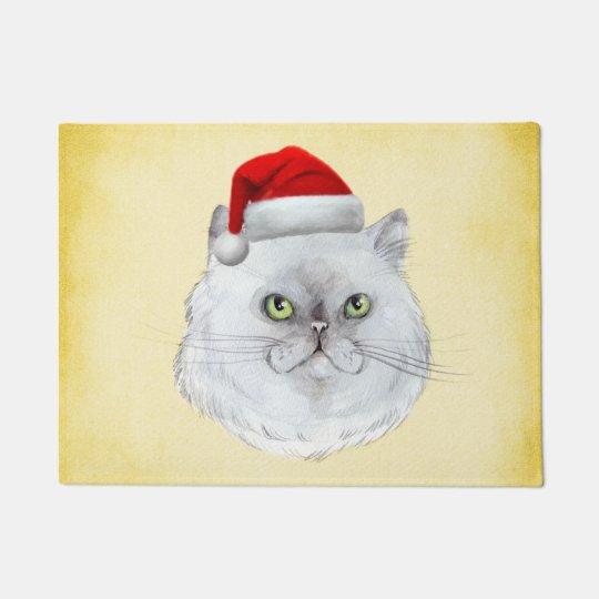 Meowy Christmas! A cute Cat with Santa Hat Doormat