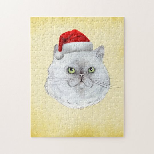 Meowy Christmas! A cute Cat with Santa Hat Jigsaw Puzzle