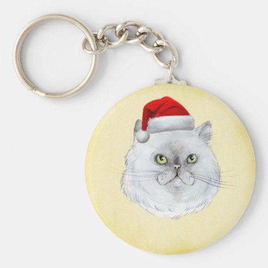 Meowy Christmas! A cute Cat with Santa Hat Keychain