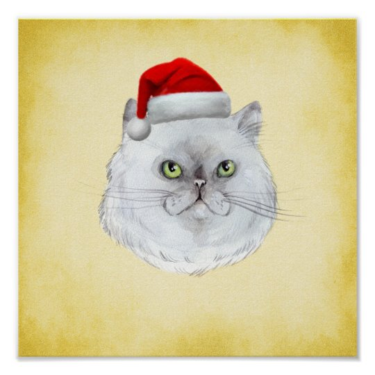 Meowy Christmas! A cute Cat with Santa Hat Poster