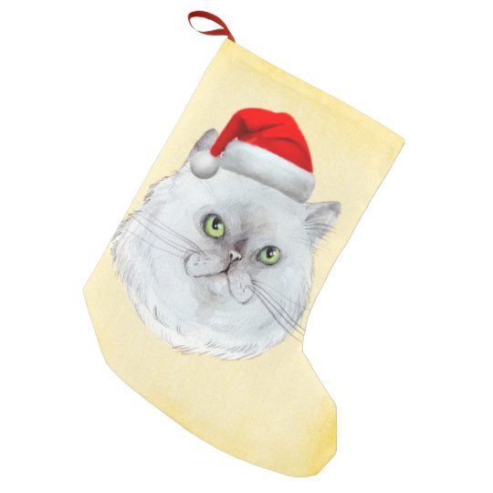 Meowy Christmas! A cute Cat with Santa Hat Small Christmas Stocking
