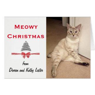 Meowy Christmas and Happy Pawlidays Greeting Card