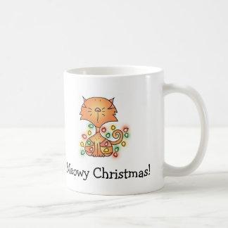MEOWY CHRISTMAS! Cartoon Mug by April McCallum