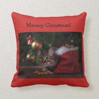 """Meowy Christmas"" cat Christmas pillow"