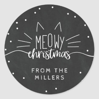 Meowy Christmas - Cat Ears & Whiskers Classic Round Sticker