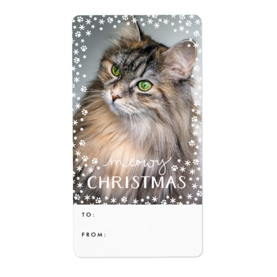 Meowy Christmas Cat Lover Photo Holiday Gift Tag Shipping Label
