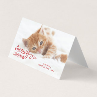 Meowy Christmas Cat Pet Holiday Photo Mini Card