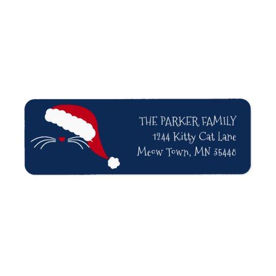 Meowy Christmas Cat Return Address Label