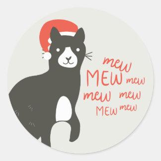 Meowy Christmas Classic Round Sticker