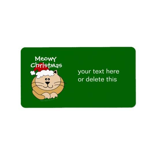 Meowy Christmas Cute Cartoon Cat Custom Label