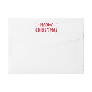Meowy Christmas | Cute Cat Holiday Wraparound Return Address Label