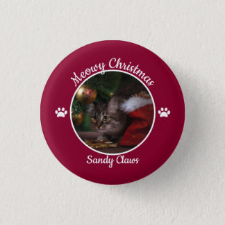 Meowy Christmas Cute Cat Photo with Name Paws 1 Inch Round Button