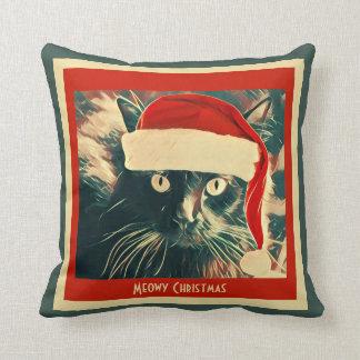 Meowy Christmas! Cute Holiday Christmas Santa Cat Throw Pillow