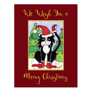 Meowy Christmas Cute Tuxedo Cat Custom Holiday Postcard