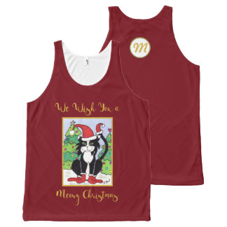 Meowy Christmas Cute Tuxedo Cat Monogram Holiday All-Over-Print Tank Top