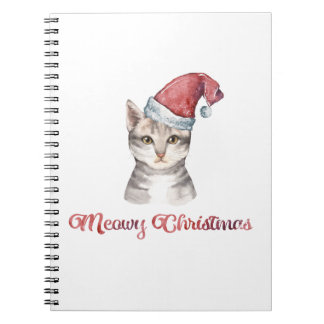 Meowy Christmas Design for Cat Lovers Notebooks