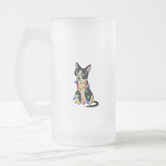 Meowy Christmas Frosted Glass Beer Mug
