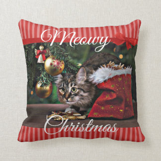Meowy Christmas Funny Kitty Cat Pillow