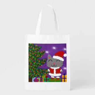 Meowy Christmas Grocery Bag