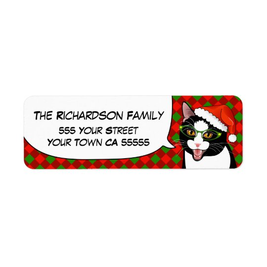 Meowy Christmas Hipster Cat Return Address Labels