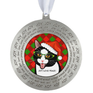 Meowy Christmas Hipster Tuxedo Cat Ornament Round Pewter Ornament