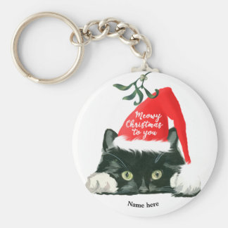 meowy christmas holiday cat in santa hat key ring