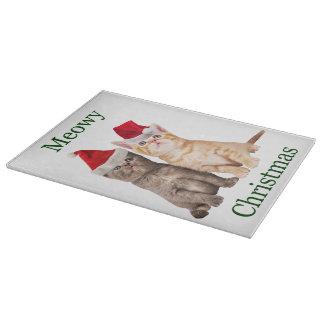 Meowy Christmas Kitten Cutting Board