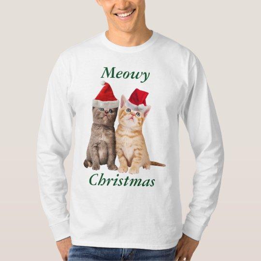 Meowy Christmas Kitten Mens Shirt
