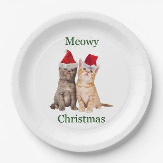 Meowy Christmas Kitten Paper Plate