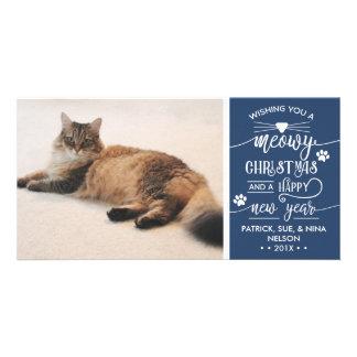 Meowy Christmas Photo Card, Cat, EDITABLE COLOR Card