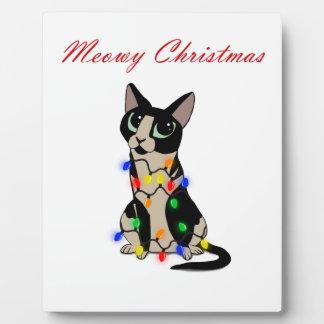Meowy Christmas Plaque