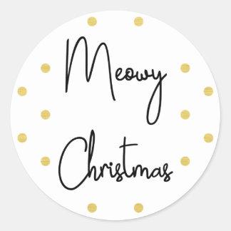 Meowy Christmas & Polkadots Classic Round Sticker