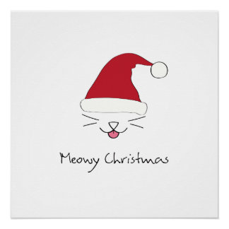 Meowy Christmas purfect poster holiday wall art