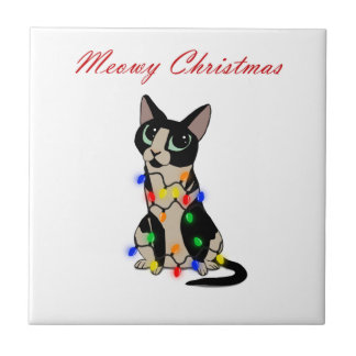 Meowy Christmas Tile