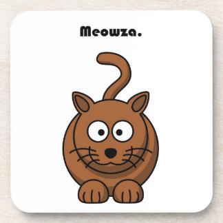 Meowza Brown Cat Cartoon Beverage Coaster