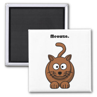 Meowza Brown Cat Cartoon Magnets