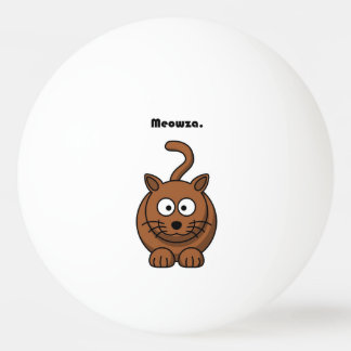 Meowza Brown Cat Cartoon Ping Pong Ball