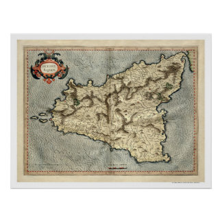Mercator Sicily Early Map 1595 Poster