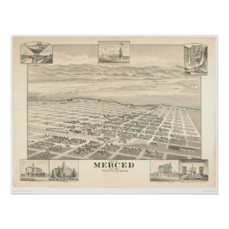 Merced, CA. Panoramic Map 1888 (1062A) Poster
