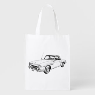 Mercedes Benz 300 sl Classic Car Illustration Reusable Grocery Bag