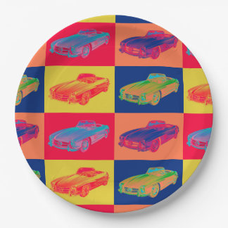 Mercedes Benz 300 SL Convertible Pop Art Paper Plate