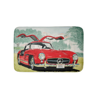 Mercedes benz sl 300 oldtimer car with open doors bath mat
